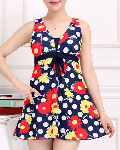 Discount Stylish V-Neck Floral and Polka Print One-Piece Swimsuit For Women