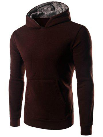 Pullover Solid Color Long Sleeve Hoodie 166654409