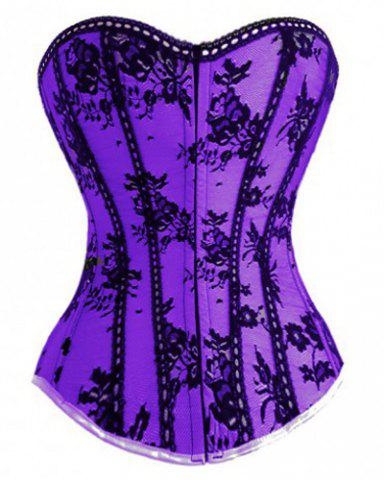 Chic Lace Spliced Strapless Back Lace-Up Corset For Women - PURPLE M