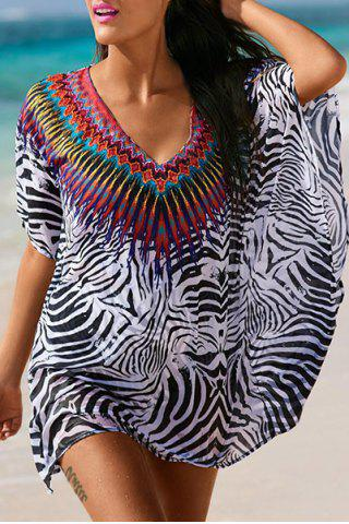 Buy Sexy Plunging Neck Short Sleeve Printed Chiffon Women's Cover-Up ONE SIZE(FIT SIZE XS TO M)