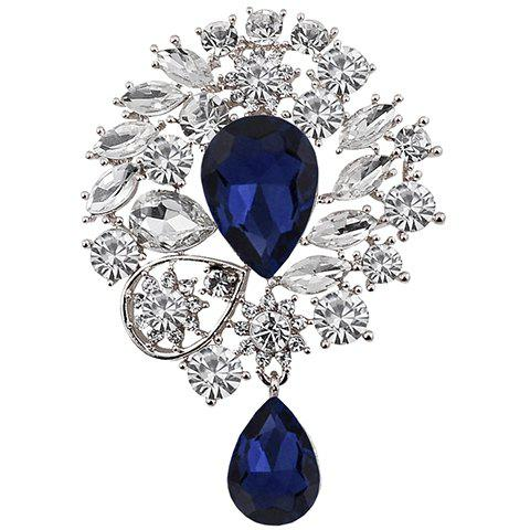 Hot Graceful Rhinestone Faux Gemstone Water Drop Brooch For Women