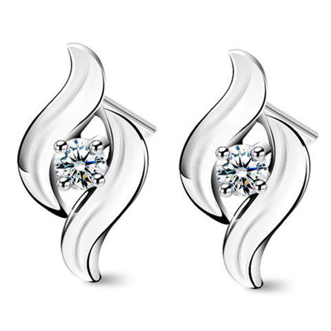 Store Pair of Trendy Rhinestoned Hollow Out Earrings For Women