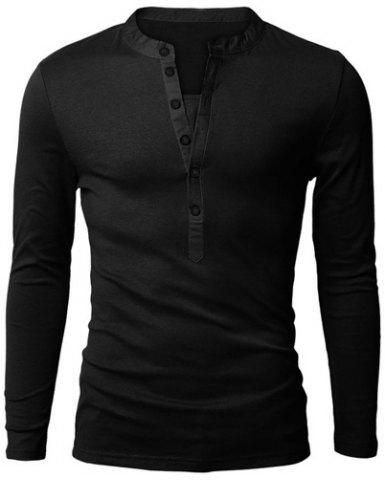 Best Stylish V-Neck Slimming Button Design Fabric Splicing Long Sleeve Polyester Polo Shirt For Men