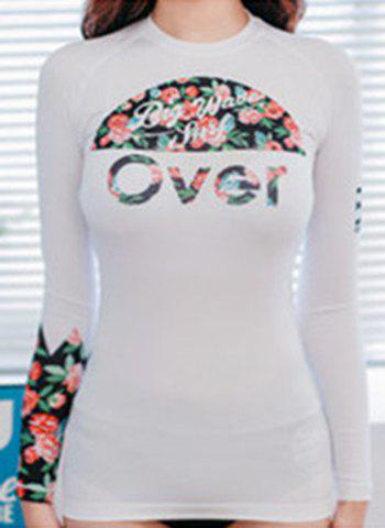 Shops Active Round Neck Floral and Letter Print Long Sleeve Two-Piece Swimsuit For Women