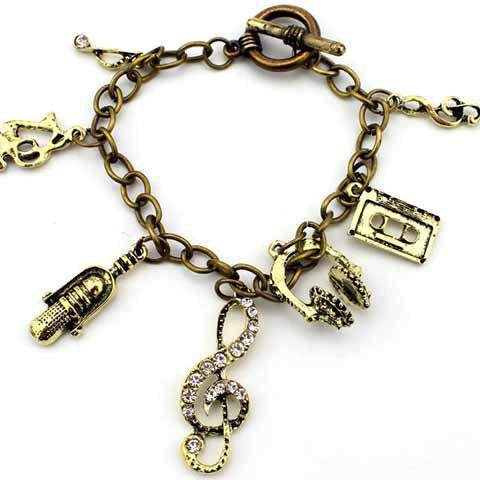New Retro Multielement Design Charm Bracelet - AS THE PICTURE  Mobile