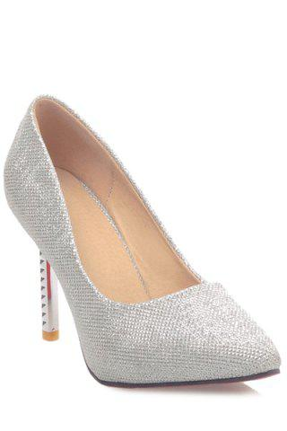 Affordable Trendy Sequined Cloth and Pointed Toe Design Women's Pumps - 39 SILVER Mobile