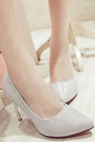 Discount Trendy Sequined Cloth and Pointed Toe Design Women's Pumps - 39 SILVER Mobile