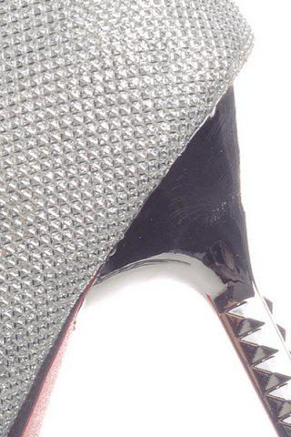 Hot Trendy Sequined Cloth and Pointed Toe Design Women's Pumps - 39 SILVER Mobile