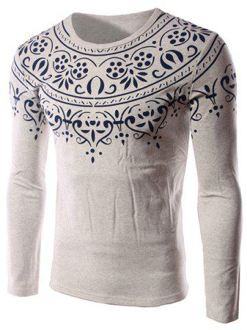 Refreshing Round Neck Tribal Print Slimming Long Sleeves Men's Flocky T-Shirt