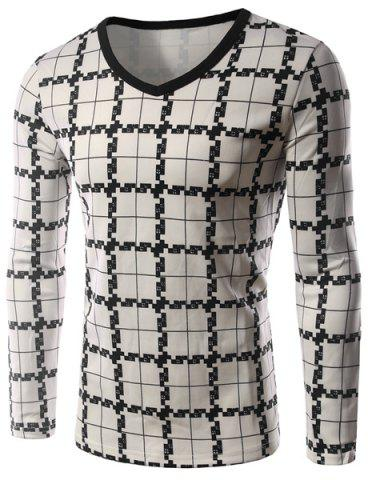New Personality Plaid Print Silky Fabric Color Block V-Neck Long Sleeves Men's Slim Fit T-Shirt - M CHECKED Mobile