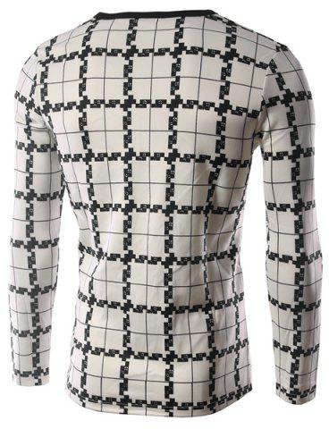 Fashion Personality Plaid Print Silky Fabric Color Block V-Neck Long Sleeves Men's Slim Fit T-Shirt - M CHECKED Mobile
