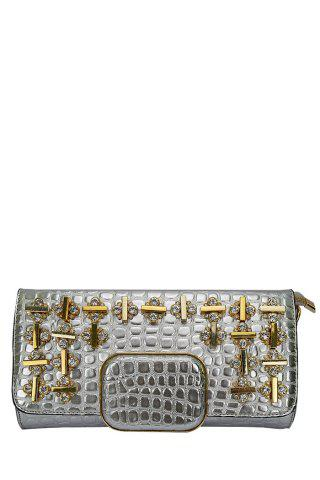 Unique Gorgeous Metal and Rhinestone Design Women's Evening Bag SILVER