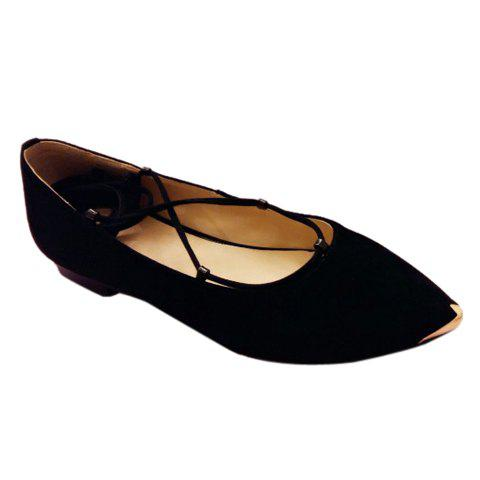 Best Graceful Criss-Cross and Pointed Toe Design Women's Flat Shoes - 37 BLACK Mobile