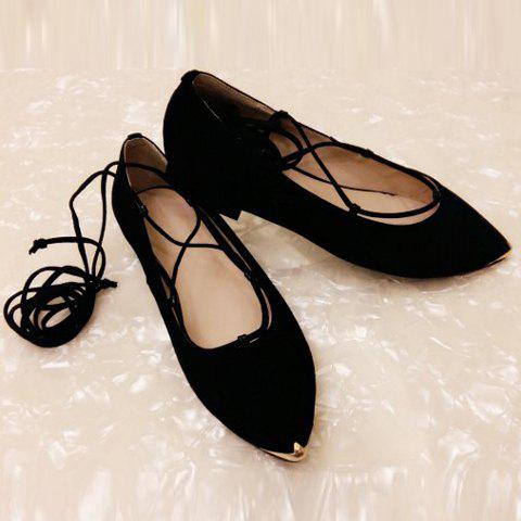 Outfit Graceful Criss-Cross and Pointed Toe Design Women's Flat Shoes - 37 BLACK Mobile