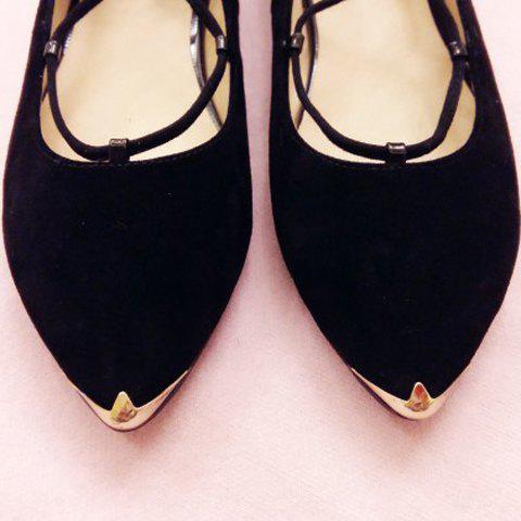 Chic Graceful Criss-Cross and Pointed Toe Design Women's Flat Shoes - 37 BLACK Mobile