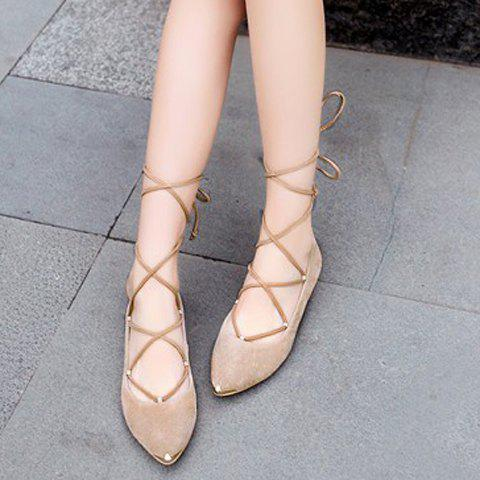 Fashion Graceful Criss-Cross and Pointed Toe Design Women's Flat Shoes - 37 NUDE Mobile