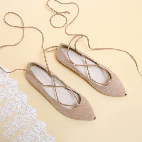 Outfit Graceful Criss-Cross and Pointed Toe Design Women's Flat Shoes - 37 NUDE Mobile