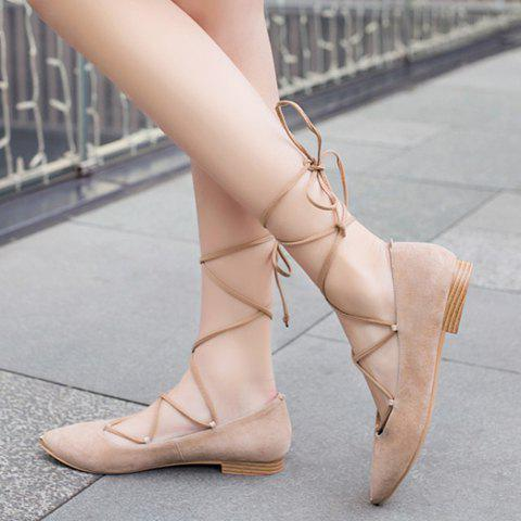 Cheap Graceful Criss-Cross and Pointed Toe Design Women's Flat Shoes - 37 NUDE Mobile