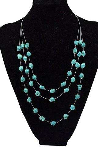 Cheap Graceful Multilayered Faux Turquoise Sweater Chain For Women GREEN