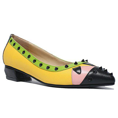 Store Fashionable Color Block and Rivets Design Women's Flat Shoes - 37 YELLOW Mobile