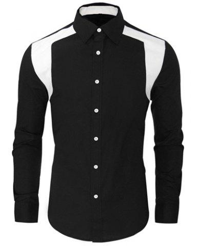 Buy Color Block Spliced Design Turn-Down Collar Long Sleeve Men's Shirt