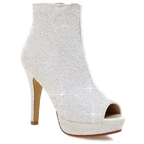Discount Sequined Open Toe Ankle Boots