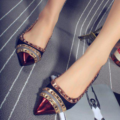Outfits Fashion Rivets and Color Block Design Women's Flat Shoes - 39 BLACK Mobile