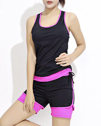 U Neck Sleeveless Hit Color Activewear Suit 167505501