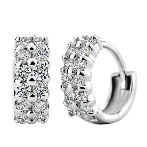 Shops Pair of Charming Rhinestone Circular Earrings For Women