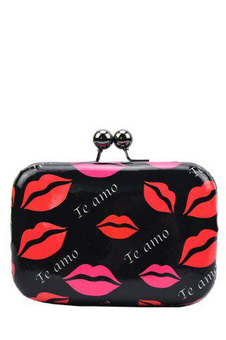 Unique Stylish Sexy Lip Print and Kiss Lock Design Women's Evening Bag