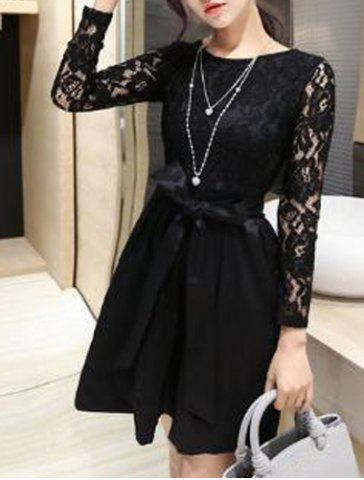 Stylish Jewel Neck Long Sleeves Slimming Lace Splicing A-Line Dress For Women