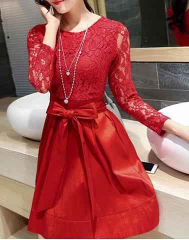 Stylish Jewel Neck Long Sleeves Slimming Lace Splicing A-Line Dress Women