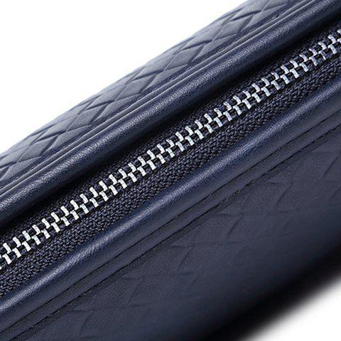 Store Stylish Weaving and PU Leather Design Men's Clutch Bag - SAPPHIRE BLUE  Mobile
