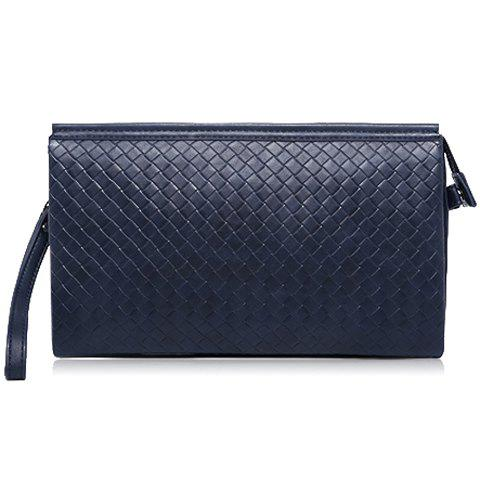 Online Stylish Weaving and PU Leather Design Men's Clutch Bag - SAPPHIRE BLUE  Mobile
