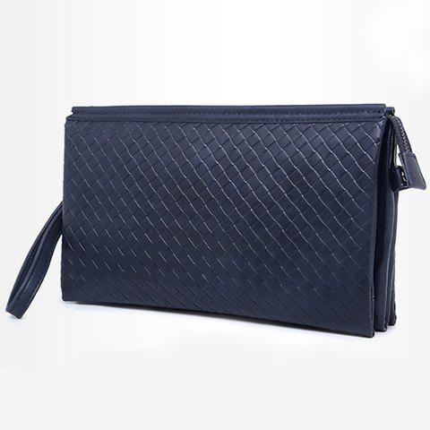 Best Stylish Weaving and PU Leather Design Men's Clutch Bag - SAPPHIRE BLUE  Mobile