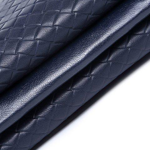 New Stylish Weaving and PU Leather Design Men's Clutch Bag - SAPPHIRE BLUE  Mobile