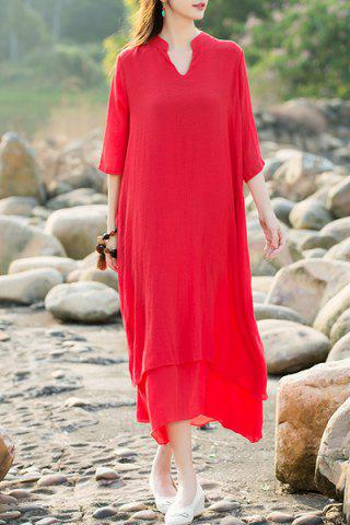 Online Ethnic Style V-Neck 3/4 Sleeve Asymmetrical Dress For Women RED XL