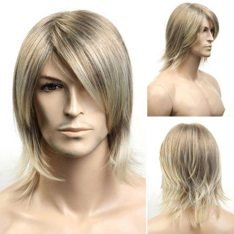 Medium Side Bang Fluffy Straight Synthetic Men's Wig - Colormix