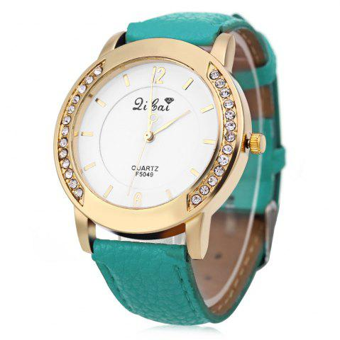 Latest Women Quartz Watch Leather Band Rhinestone Case