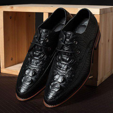 Chic Fashion Crocodile Print and Lace-Up Design Men's Formal Shoes - 43 BLACK Mobile