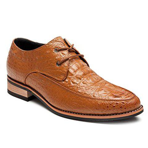 Fashion Crocodile Print and Lace-Up Design Men's Formal Shoes - BROWN 41
