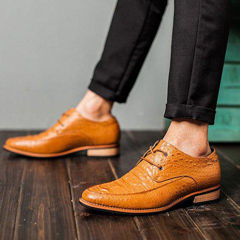 Discount Fashion Crocodile Print and Lace-Up Design Men's Formal Shoes - 41 BROWN Mobile