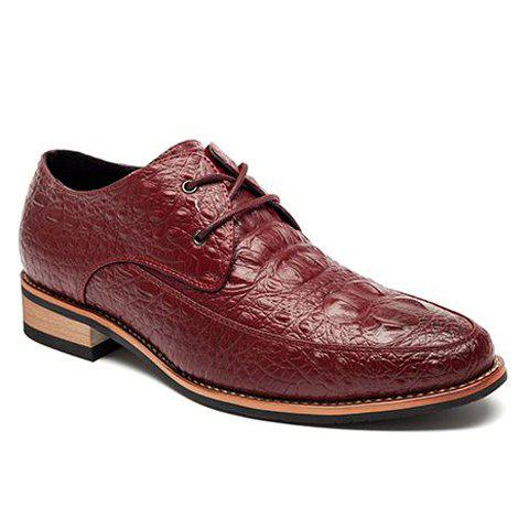 Discount Fashion Crocodile Print and Lace-Up Design Men's Formal Shoes - 40 WINE RED Mobile
