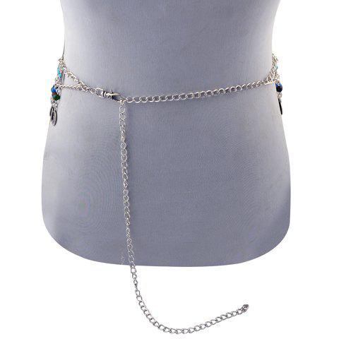 New Vintage Round Bead Coin Tassel Body Jewelry Belly Chain For Women - SILVER  Mobile