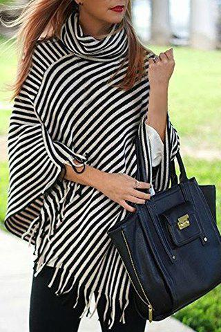 Stylish Cowl Neck 3/4 Sleeve Striped Fringed Women's Poncho Blouse
