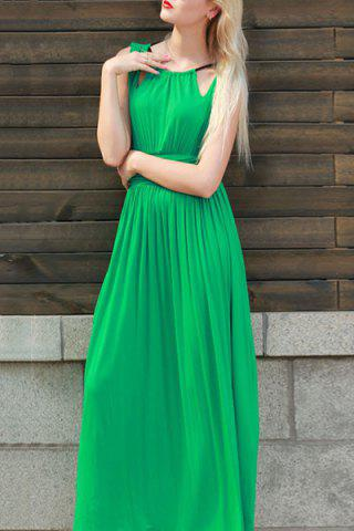Round Neck Sleeveless Pure Color Cut Out Maxi Dress 167410502