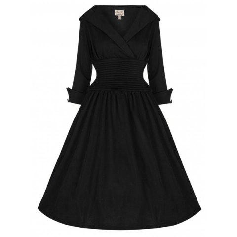 Online Vintage Turn-Down Collar 3/4 Sleeve Slimming Dress For Women