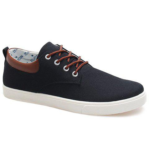 Online Simple Canvas and Criss-Cross Design Men's Casual Shoes BLACK 44