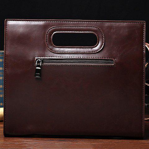Shops Fashionable Solid Colour and PU Leather Design Men's Clutch Bag - COFFEE  Mobile