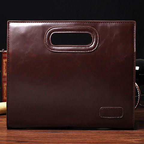 Store Fashionable Solid Colour and PU Leather Design Men's Clutch Bag - COFFEE  Mobile